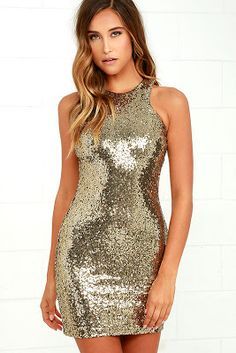 Social Fashion Boutique: Shining Splendor Gold Sequin Bodycon Dress Lulus