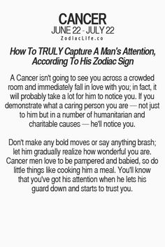 Things to say to a cancer man