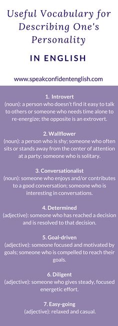 English vocabulary for talking about personalities. Get the full lesson and the opportunity to practice here:http://www.speakconfidentenglish.com/describe-your-personality-english/?utm_campaign=coschedule&utm_source=pinterest&utm_medium=Speak%20Confident%20English%20%7C%20English%20Fluency%20Trainer&utm_content=How%20to%20Describe%20Your%20Personality%20-%20in%20English