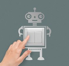 Silver Robot Wall Sticker Spring Kids Room gift by CupOfTea30, ₪45.00