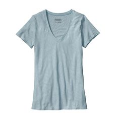 The Patagonia Women's Necessity V-Neck Shirt is a warm-weather wardrobe basic made of a soft slub-knit organic cotton/Tencel® lyocell blend.