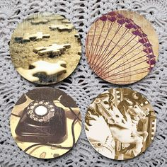 Pieces of a Dream  Vintage Inspired Image Mousepad coaster set coasters by Polkadotdog