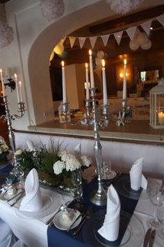Hochzeitsdeko in Dunkelblau, Weiß und Silber - Heiraten im Seehaus am ...
