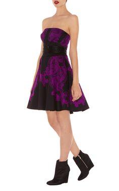 karen millen Black lace dress Strapless Dress-Karen Millen DP275 Black Lace Print Prom Dress :