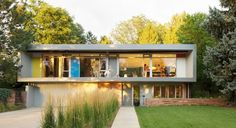 Mid Century Two Story Exterior Design Ideas, Pictures, Remodel and Decor