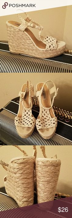 STEVE MADDEN IVORY CROCHET WEDGE SANDALS STEVE MADDEN IVORY CROCHET WEDGE SANDALS.  Worn twice, very comfortable despite their height.  Size 7.5 Steve Madden Shoes Sandals