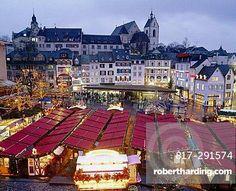 10643034, Barfusserplatz, place, Basel, Basle, town, city, booths, dusk, twilight, Switzerland, Europe, market, overview, Chri. 10643034, Barfusserplatz, place, Basel, Basle, town, city, booths, dusk, twilight, Switzerland, Europe, market, overview, Chri