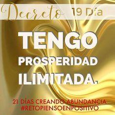 """@Regrann_App from @piensoenpositivo - 21 Días, Decretando Abundancia . """"Todo lo que decreto llega de manera fácil y rápida"""". • Llénate de la mejor vibra diaria utiliza nuestro hagstags: #abundanciapositiva. • Mi prosperidad es Ilimitada, gracias, gracias, gracias. • ❁GO! NAMASTE ॐ #decreto #yopiensoenpositivo #piensoenpositivo #pienso_en_positivo #citas #hooponopono #motivacion #emprendedores #emprende #vive #yoga #felicidad #publicidad #namaste #love #smile #happy #go . Nuestros prod..."""