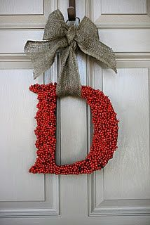 To do...NOEL for the 4 big windows in our living room...add greenery/spruce sprigs to bow