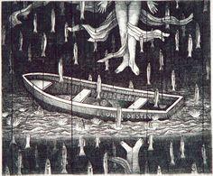 Febrero. El vuelo del pez, grabado al buril, 12x14,2006, Mizraim Cárdenas.