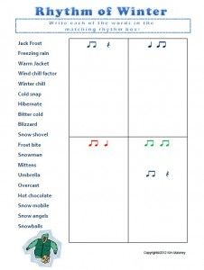 Rhythm of Winter + 12 more rhythm worksheets! Answer sheets included.  $