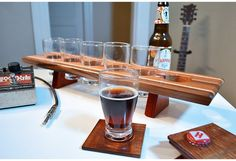 The Small Stone - Curly Maple & Mahogany    Handmade Wood Mini Brew Beer Sampler and Coaster Set 6