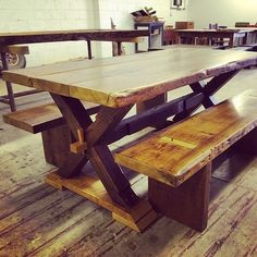 @todmoe1 has created another great family table for the Psimer's! They are excited and can't wait to see it. #reclaimedwood #mastercarpentry #farmtable #poplar by longwoodantiquewoods