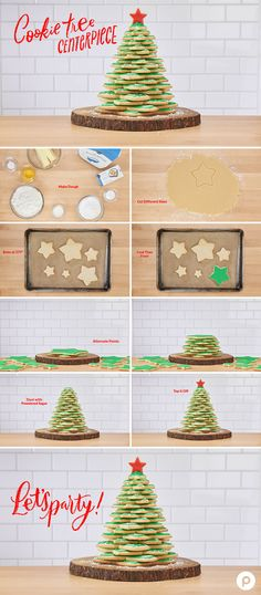 Cookie Tree Centerpiece: This DIY centerpiece is made entirely from cookies. Put it on your Christmas dinner table or use it as decoration.