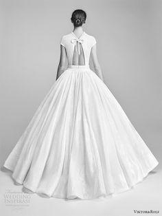 viktor and rolf spring 2018 bridal cap sleeves high neck drop waist ball gown wedding dress (10) bv romantic modern -- Viktor