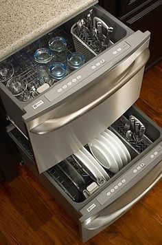 Get 2 dishwashers. You can load one while the other washes. KitchenAid also makes a double drawer dishwasher.