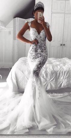 Sexy Lace Mermaid Wedding Dresses, See-Through Cap Sleeves Bridal Gowns, Sexy Wedding Dresses, Wedding Dress Empire, Wedding Dress Mermaid Lace, White Lace Wedding Dress, Wedding Dresses With Straps, Best Wedding Dresses, Perfect Wedding Dress, Mermaid Dresses, Bridal Dresses, Gown Wedding