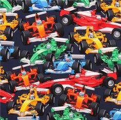 navy blue racing cars F1 fabric by Timeless Treasures USA 2