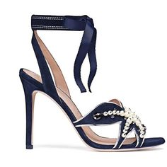 Tory Burch Seashore Sandals ($350) ❤ liked on Polyvore featuring shoes, sandals, navy blue, high heel shoes, navy sandals, ankle tie sandals, navy ankle strap sandals and starfish sandals