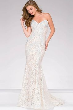 d2db0284e6 Buy the Crystal Embellished Strapless Lace Prom Dress 37334 by Jovani at  CoutureCandy.com