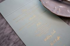 Lamplighter London Modern Calligraphy Blue and Gold Invitation