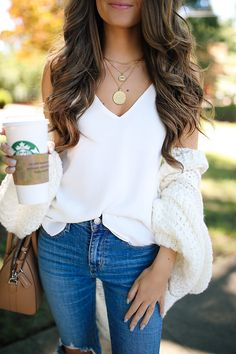 Free People Chamomile cardigan , also have & love this cardigan white tank // Levi's jeans, similar here & here // leo...