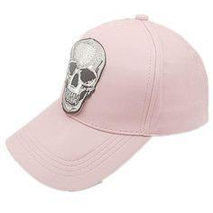 c38e50b28f65e Leather Horror skull embroidery Adjustable Baseball cap snapback cap