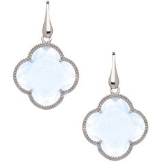 Elliott Chandler Blue Quartz Four Leaf Clover Earrings ($135) ❤ liked on Polyvore featuring jewelry, earrings, серьги, leaves jewelry, clover earrings, leaf jewelry, leaves earrings and earrings jewelry