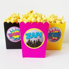 Serve up some smiles with our Superhero theme Popcorn Snack boxes. Our boxes are ideal for serving your guests popcorn, chips, pretzels, cotton candy, or pretty much whatever you want! Great for grab