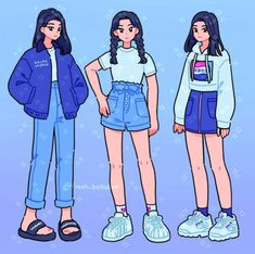 I drew myself in three blue outfits from my closet 💙 comment your fave! Aesthetic Drawing, Aesthetic Art, Aesthetic Clothes, Arte Do Kawaii, Kawaii Art, Cute Art Styles, Cartoon Art Styles, Kawaii Drawings, Cute Drawings