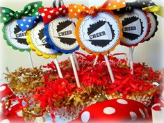 Personalized Custom CHEER School Spirit Squad Cupcake Toppers by Chocolatetulipdesign. $13.50, via Etsy.