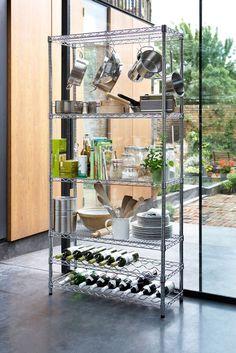 kitchen Pantry Rack - Chrome Kitchen Rack with Wine Shelves. Wine Shelves, Shelving Racks, Wire Shelving, Room Shelves, Open Shelving, Kitchen Trolley, Kitchen Pantry, Wire Kitchen Rack, Metro Shelving