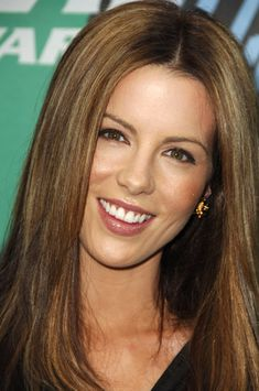 Kate Beckinsale has similar hair to mine. My hair has always parted in the middle and it's pretty hard to move it so this look would be good.