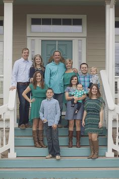 Family portraits at the river house in teal, navy, and denim | Texas photographer Christine Gosch