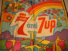 RARE vintage 70s Peter Max scarf Seagrams Seven And Seven advert Psychedelic MOD