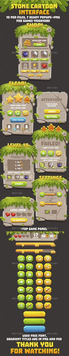 Stone Cartoon Style GUI Pack - User Interfaces Game Assets