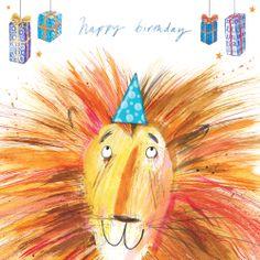 Happy Birthday (W472) Birthday Animals Greetings Card by Laura Hughes http://www.thewhistlefish.com/product/w472-happy-birthday-greetings-card-by-laura-hughes #Lion