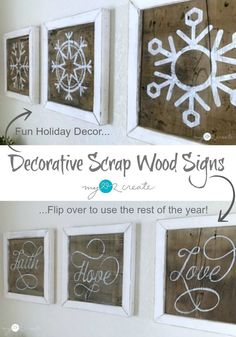 Make your own Decorative Scrap wood Signs, they are super easy and reversible!  Free plans and tutorial at MyLove2Create.com  Plus 13 Days of Woodworkers Christmas, unwrap a different project every day! #13daysofwoodworking details on this event at hazelandgolddesigns.com