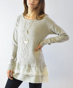 This Gray Cable-Knit Lace-Hem Tunic is perfect! #zulilyfinds