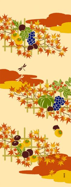 Japanese Tenugui Cotton Fabric, Autumn Food, Fruits, Mushroom, Chestnut, Red Leaves, Hand Dyed Autumn Decor, Home Decor Wall Tapestry, JapanLovelyCrafts