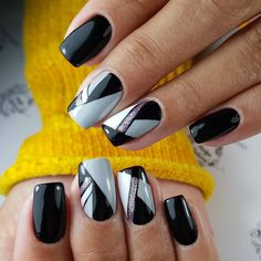 120 nails 2019 acrylic design trend idea - Page 47 of 120 45 Manicure Nail Designs, Gold Nail Designs, Cute Nail Art Designs, Colorful Nail Designs, Nail Polish Designs, Acrylic Nail Designs, Luv Nails, Fancy Nails, Dark Color Nails