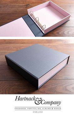 Bespoke Ring Binder Box File - Custom made 3 ring clamshell box file in a hard waring, acrylic covered platinum book cloth and a m - Diy Crafts For Gifts, Diy Home Crafts, Paper Crafts, Portfolio Book, Fashion Portfolio, Creative Gift Wrapping, Creative Gifts, Diy With Kids, Diy Cardboard