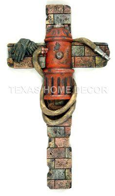 Fireman Decorative Wall Cross Fire Hydrant Hose Gloves Faux Brick Look 22x12 in