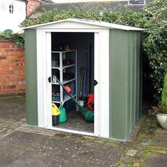 The Rowlinson Metal Apex 8 x 6 Metal Shed is just the right size to store a range of garden equipment both large and small. Outdoor Storage Sheds, Shed Storage, Metal Shed, Metal Roof, Shed Builders, Apex Roof, Shed Base, Garden Power Tools, Vegetable Gardening