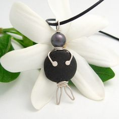 Tahitian Black Pearl Silver Lava Rock Pendant by MooreaDesign, $148.00