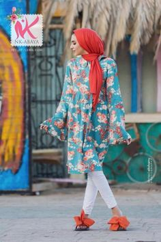 Floral tunic dress-Fashion casual wear for veiled girls – Just Trendy Girls