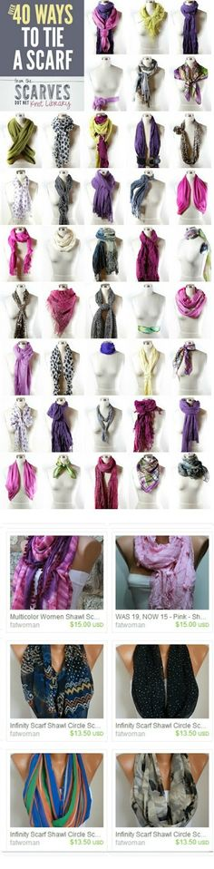 I sooooo need this! No clue but learning! 40 ways to tie a scarf. Scarf on ETSY . Ways To Tie Scarves, Ways To Wear A Scarf, How To Wear Scarves, Wearing Scarves, Fall Scarves, Men's Scarves, Scarf Knots, Loop Scarf, Tying A Scarf