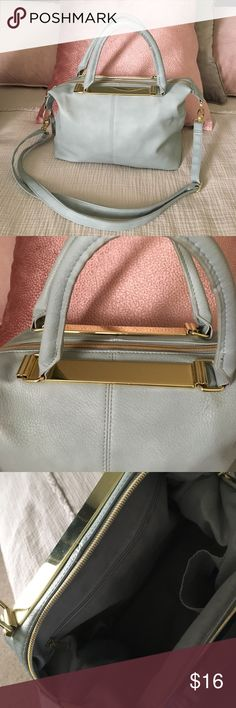 Sky Blue Vegan Leather Purse/Bag Gold Details Pre Owned great condition! Clean inside and out. Comes from non smoking owner. Bags