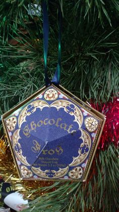 harry potter chcocolate frog box ornament wizarding world souvenir hot glue ribbon into box - Harry Potter Christmas Decorations