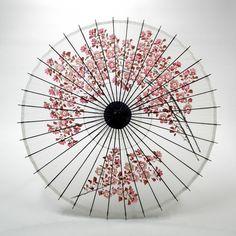 和傘 - 絹舞傘 桜絵 白